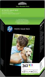 VALUE PACK HP Nº 363 6 TINTAS + 150 HOJAS 10X15 CM