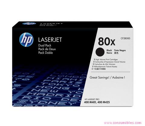 Comprar pack 2 cartuchos de toner CF280XD de HP online.