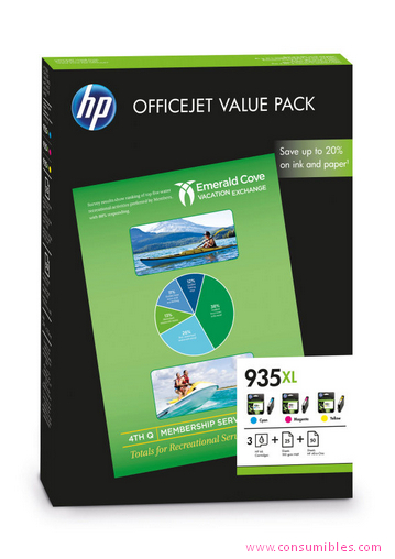 VALUE PACK CIAN - MAGENTA - AMARILLO ALTA CAPACIDAD + 25 PAGINAS PAPEL PROFESSIONAL INKJET MATE 180 G-M² + 50 PAGINAS PAPEL ALL-IN-ONE 80 G-M² HP Nº 935XL