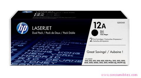 Comprar pack 2 cartuchos de toner Q2612AD de HP online.