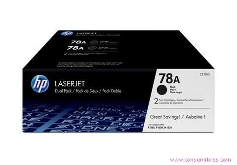 Comprar pack 2 cartuchos de toner CE278AD de HP online.