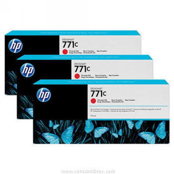 PACK DE 3 CARTUCHOS DE TINTA GRAN FORMATO ROJO CROMATICO 775 ML PACK 3 HP Nº 771