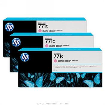 PACK DE 3 CARTUCHOS DE TINTA GRAN FORMATO MAGENTA CLARO 775 ML PACK 3 HP Nº 771