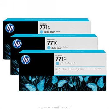 PACK DE 3 CARTUCHOS DE TINTA GRAN FORMATO CIAN CLARO 775 ML PACK 3 HP Nº 771