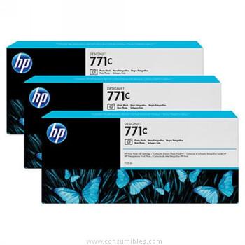 PACK DE 3 CARTUCHOS DE TINTA GRAN FORMATO NEGRO FOTO 775 ML PACK 3 HP Nº 771