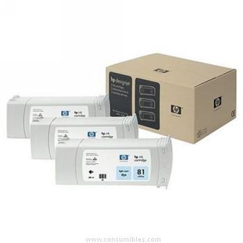 Pack de 3 cartuchos de tinta Cian Claro Pack 3 HP Nº 81