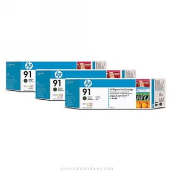 PACK DE 3 CARTUCHOS DE TINTA NEGRO MATE 775 ML PACK 3 HP Nº 91