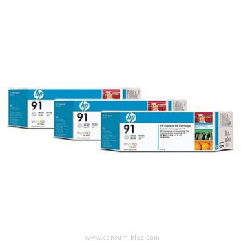CARTUCHO DE TINTA GRIS CLARO 775 ML PACK 3 HP Nº 91