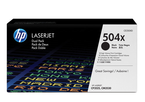 Comprar pack 2 cartuchos de toner CE250XD de HP online.