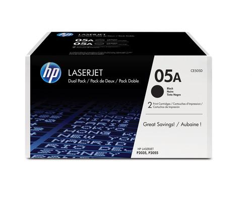 Comprar pack 2 cartuchos de toner CE505D de HP online.