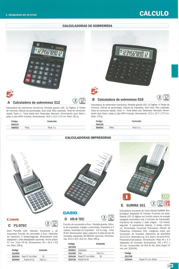 OLIVETTI CALCULADORA SOBREMESA IMPRESION SUMMA 301 12 DIGITOS PILAS B4621000