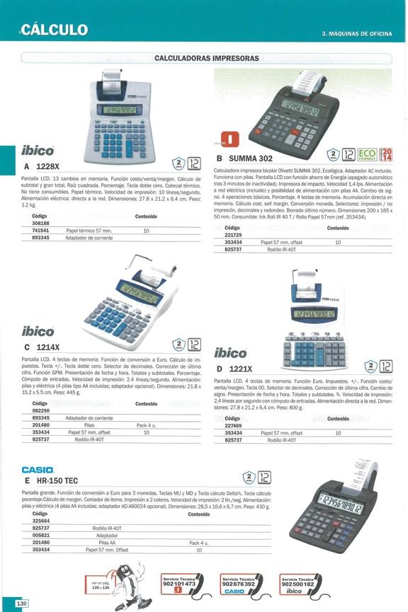 OLIVETTI CALCULADORA SOBREMESA IMPRESION SUMMA 302 14 DIGITOS A LA RED Y PILAS B4645000