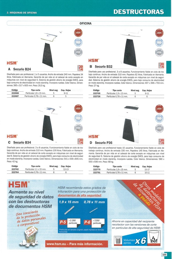HSM DESTRUCTORA SECURIO B24 34L PARTÍCULAS 0,78X11 MM CAPACIDAD 11H. 395X317X605 MM 1782111