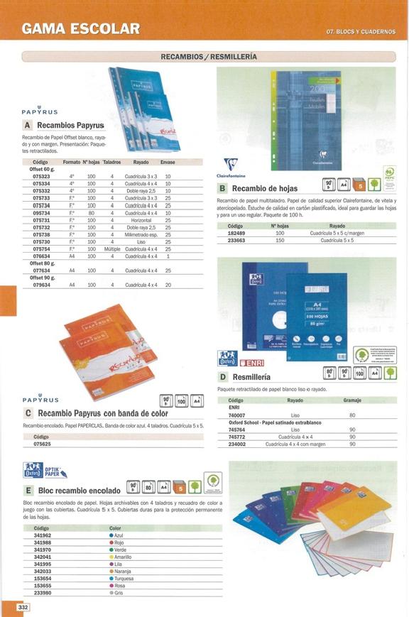 ENVASE DE 5 UNIDADES OXFORD RECAMBIO DE PAPEL 100H A4 CUADRICULA 4X4 100430272