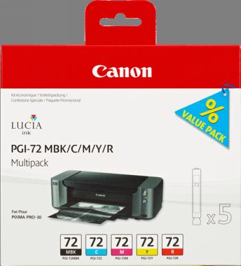 CARTUCHO DE TINTA COLORES MBK-C-M-Y-R PACK 5 CANON PGI-72