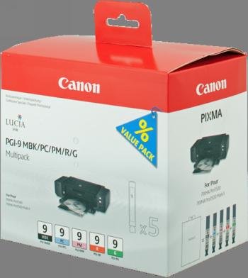 CANON MULTIPACK NEGRO / CIAN / MAGENTA / ROJO / VERDE PGI-9MULTI1 1033B013 5 CARTUCHOS DE TINTA PGI-9: MBK +PC +PM +R +G