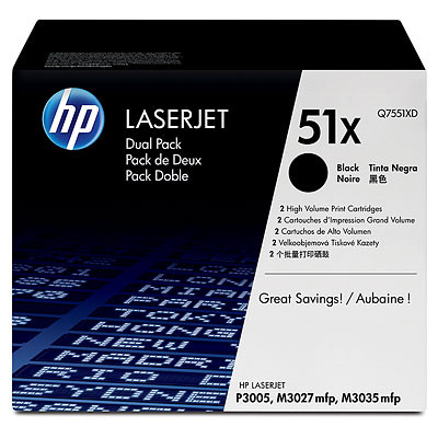 Comprar pack 2 cartuchos de toner Q7551XD de HP online.