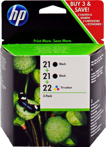 Cartucho de tinta MULTIPACK NEGRO - VARIOS COLORES 21+21+22 TINTA: 2X 21-C9351AE + 22-C9352AE HP Nº 21+21+22