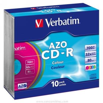 VERBATIM CD-R 700 MB 48X DATALIFEPLUS SUPERAZO SLIM COLORES (PACK 10)