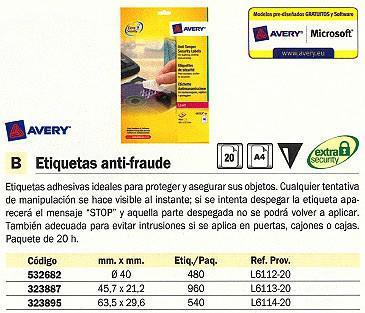 532682: Imagen de AVERY ETIQUETAS ANTI