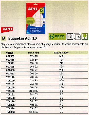 708196(1/10): Imagen de APLI ETIQUETAS 10 ES